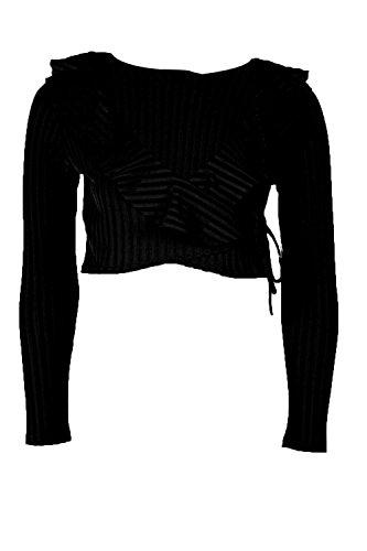 Noir Femmes Nora Ruffle Rib Tie Waist Crop Top Noir