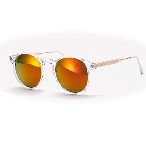 CHUSHENG Runde Sonnenbrillen mit transparentem Rahmen, Retro-Brillen für Männer und Frauen sind pflegeleicht und langlebig,2