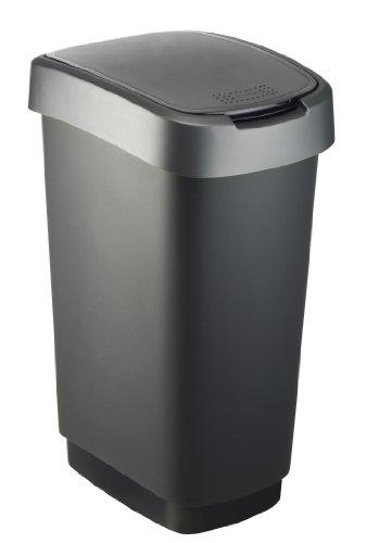 Rotho Twist Mülleimer 50 l, Kunststoff (PP), schwarz / silber, 50 Liter (40,1 x 29,8 x 60,2 cm)