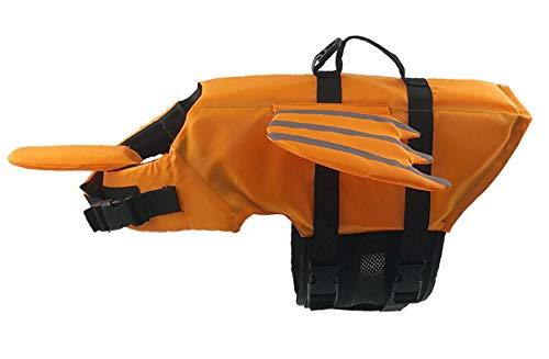 YYCEB Reflektierende Hund Schwimmweste Kleidung Sicherheitsweste Surfen Pool Haustier Rettungsring Hund Badeanzug Mops französische Bulldogge XS Orange
