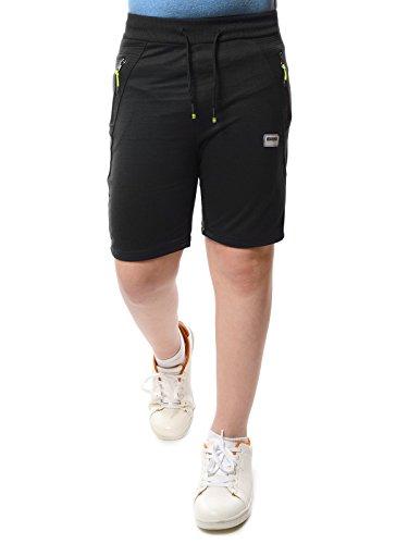 Kinder Jungen Kurze Hose Stoff Shorts Gummizug Bund 22171, Farbe:Schwarz, Größe:128