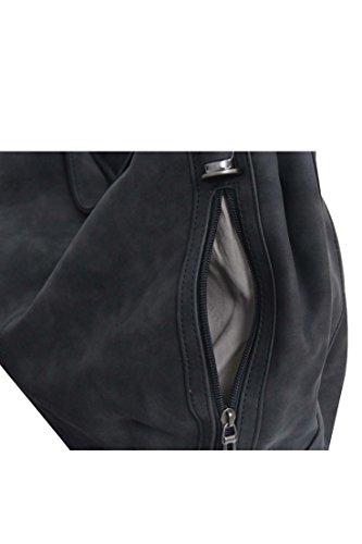 Flora & Co (Farbauswahl) Damen Handtasche PU-Leder Beuteltasche Schwarz
