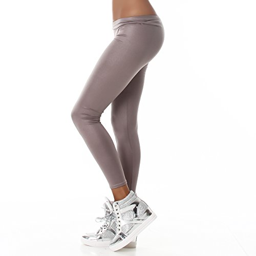 Damen Ladies Leggings, klassich, matt glänzendes Material, Knöchellang, in vielen Farben erhältlich Hellbraun
