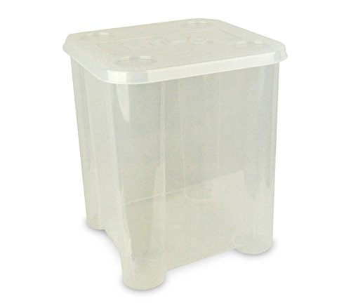 355312 Caja de plástico rigido para juguetes con tapa 29 x 33 x 33cm (TRANSPARENTE)