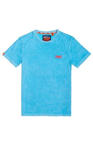 Superdry Herren ORANGE Label NEON Tee T-Shirt Ice Blue B45, XL