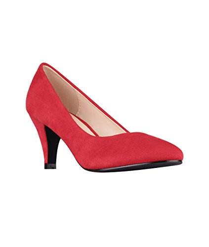 KRISP® Damen Kitten-Heel Absatz Pumps Rot (5792)