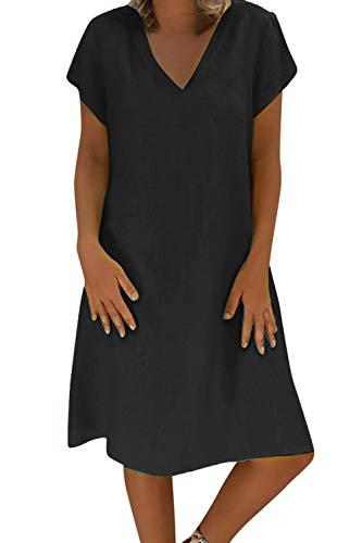 Yidarton Robe Été Femme de Plage Rétro Robes Col V Lin Robes au Genou Manches Courte Unie Casual Tuniques Ample sans Accessoires(Noir,3XL)