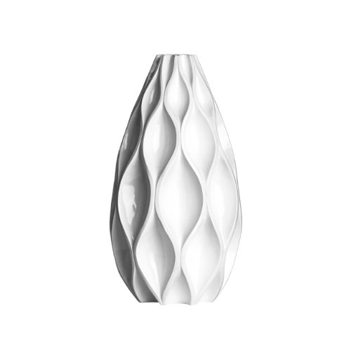 Oval Shape Vase Made Of Polyresin Material With White High Gloss Finish