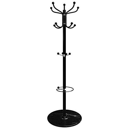Deuba attaccapanni da terra con piedestallo in marmo 173cm per giacche cappotti cappelli ombrelli incl. portaombreli ...
