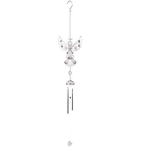 Wunderschönes, silberfarbenes Engel-Windspiel aus Glas, Metall und Kunstharz für Haus und Garten, Ornament