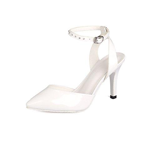 WSS chaussures à talon haut L'Europe et les pieds pointus de strass haut talon sandale riveté sandales en cuir White
