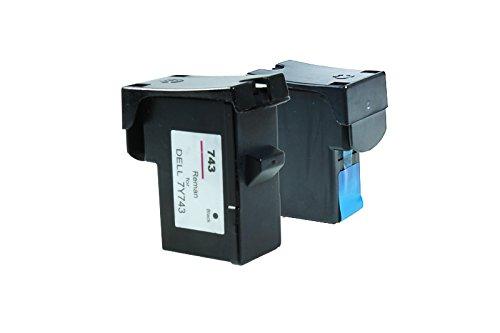 7y743 Tintenpatrone (Recycelt für Dell A 960 Tinten Sparset Black, Cyan, Magenta, Yellow - 7Y743 & 7Y745 / 592-10043 & 592-10045 - Inhalt: 1 x 28 ml & 1 x 18 ml)