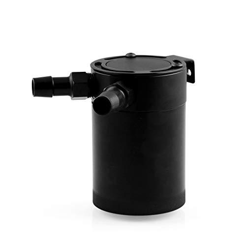 ELENXS Universal-Racing Baffled 2-Port-Oil Catch Can Tank-Reservoir Schwarz Luft-Öl-Aluminium-Legierung Separator (Aluminium Luft Tank)