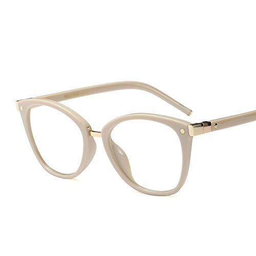Ultralight Retro Round Brillengestell mit klarer Linse für Damen. Brille (Farbe : Beige)