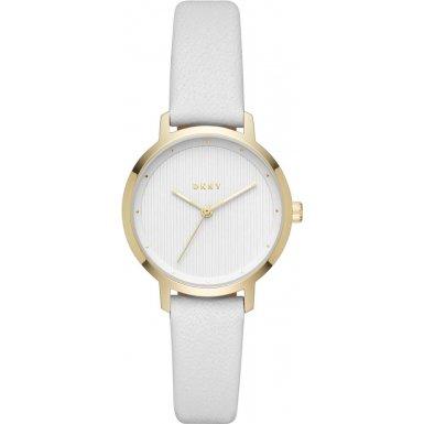 DKNY Damen-Armbanduhr 32mm Armband Leder Weiß Gehäuse Edelstahl Quarz NY2677 (Leder Damen Dkny Uhren)