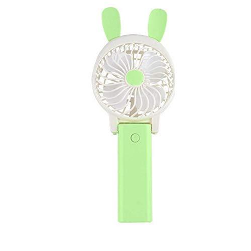 HAPPY LEMON Conveniente Moda Conveniente Mini Ventilatore da Tavolo Portatile Morbido Orecchio Ventilatore Pieghevole Portatile Ventilatore a Forma di Batteria Ricaricabile Moda (Color : Green)