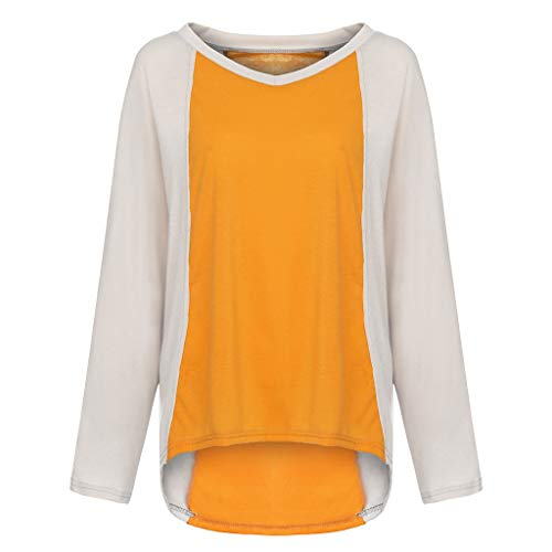 ada0569d39 JUTOO 2019 Womens Casual V-Neck Long Sleeve Patchwork Loose Ladies Tops  T-Shirt