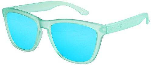 a653920fc7 X-CRUZE® 9-064 Gafas de sol Nerd polarizadas estilo Retro Vintage Unisex  Caballero Dama Hombre Mujer Gafas - verde claro-turquesa-transparente  mate/azul ...