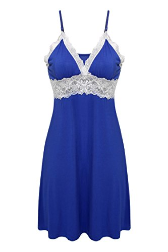 *Ekouaer Damen Negligee Nachthemd Sexy Nachtkleid V-Ausschnit Nachtwäsche Spitze Dekor Sleepwear Träger kleid mit Spitzenbesatz, Blau, Gr. M*