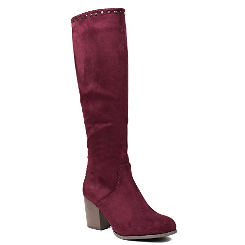 Ideal Shoes - Bottes effet daim avec clous Moisha Rouge