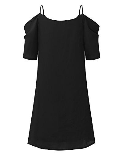 StyleDome Femme Robe Courte à Bretelle Manches Courtes Col Rond Tunique Robe Elégante de Soirée Cocktail Plage Noir