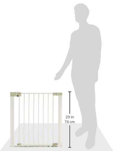 """Safety 1st Secure Tech Auto Close Metal Gate, White Safety 1st One handed opening """"true"""" auto-closing whatever the opening amplitude U-shaped frame with 4 pressure points provides solid fit and doesn't require drilling Secure tech indicator shows the gate is safely locked into place 12"""