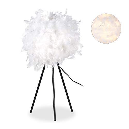 Relaxdays Federlampe, Nachttischlampe, Schlafzimmer, Kinderzimmer, modern, rund, E 27 Lampe, 10 Watt, 60 cm hoch, weiß -