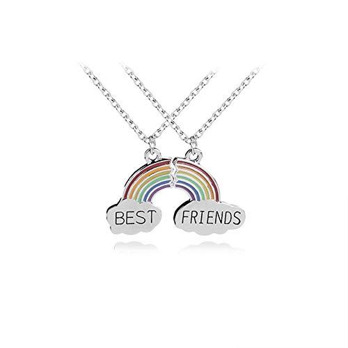 AILUOR Unisex 2 Stück Regenbogen-Wolke Stitching Beste-Freunde-Hängende Halskette, BFF Teen Immer Freundschaft Geburtstags-Geschenk 2st Einstellbar