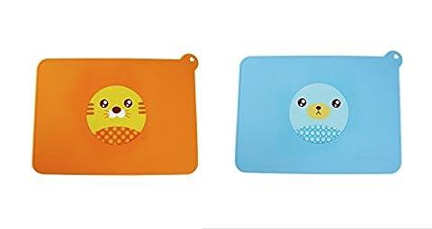 Chilsuessy Lot de 2pcs Set de Table Tapis de Table Bébé Silicone Cartoon Design, Tigre+Ours