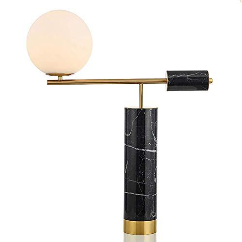 GXFXLP Lámpara de Mesa nórdica, lámpara de Mesa de mármol y Bola de Cristal Moderna Bombilla LED, Blanco Negro,Black