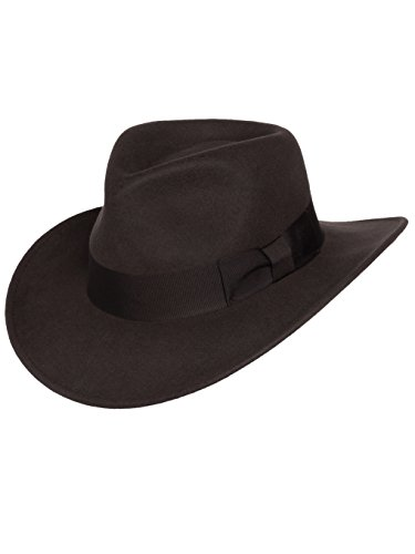 Silver Canyon Boot and Clothing Company Indiana Outback Fedora-Hut Knautschbar Wollfilz für Herren XX-groß braun