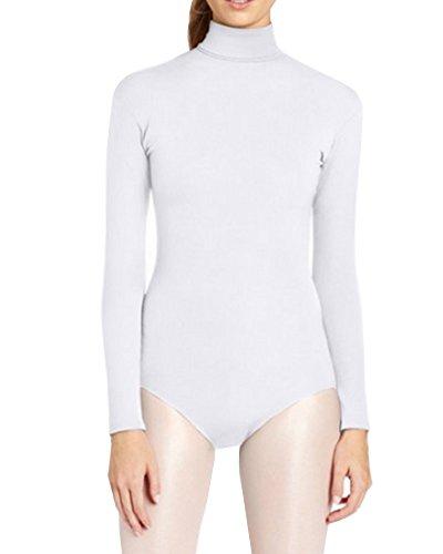 Ballettanzug Lange Ärmel Ballett Bodys Gymnastikanzug Turnanzug Leotards Kostüme Weiß L