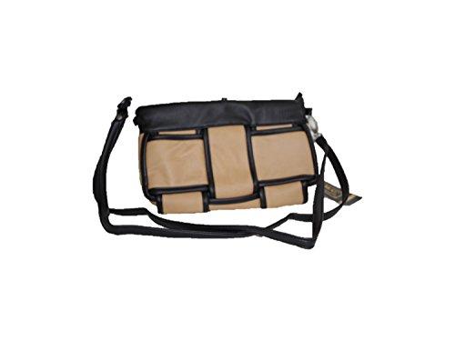 kleine geflochtene Handtasche aus weichem Kunstleder black/camel
