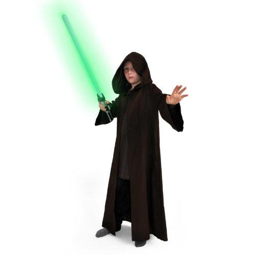 Jedi Robe für Kinder langer Mantel braun Kostüm mit Kapuze Langarm Macht ()
