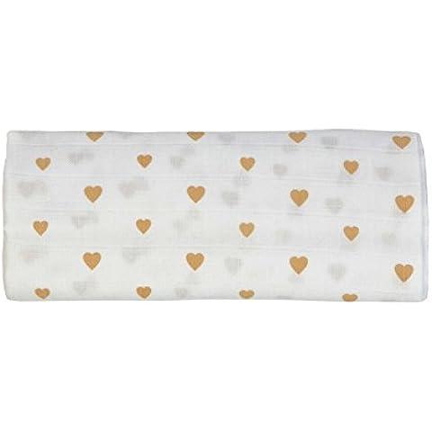 Gloop Cuidado del bebé Algodón Orgánico tradicional Triple Pack de muselina (Rosa Dots/Pink Clouds/Little Hearts, 100x 100cm)