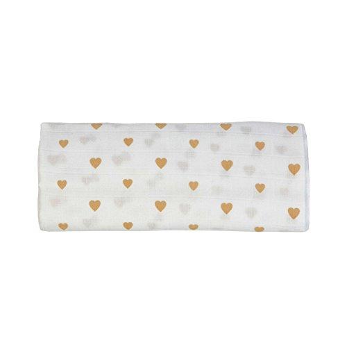 Läuft Baby Care Bio Baumwolle traditionellen Musselin, 3Stück (Rosa Punkte/Rosa Wolken/Little Herzen, 100x 100cm)