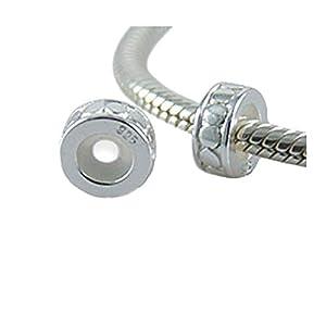 Andante-Stones 925 Sterling Silber Bead Charm Stopper Abstandhalter – Element Kugel für European Beads Modul Armband + Organzasäckchen