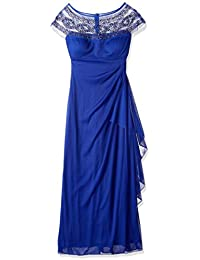 R&M Richards Womens One Piece Sleeveless Long Mesh Missy Beaded Yolk Gown Formal Night Out Dress