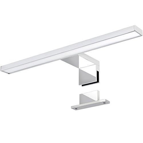 LED Spiegelleuchte 2-in-1 Aufbauleuchte/Klemmleuchte 30cm 4,5W in chrom, IP44, kaltweiß 6000K - für Möbel, Spiegel und Bad