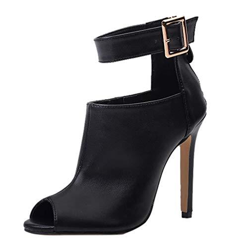 High Heels für Damen Stiletto Schuhe Stiefel Hohen Hacken Reißverschluss Spitze Peep Toe Super Hohe Spike Ferse Sexy Absatzschuhe Schnalle (Schwarz,36 EU) -