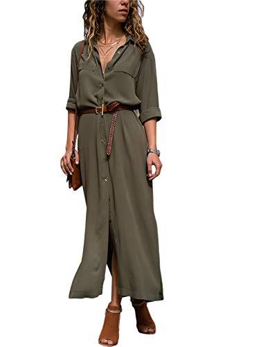 Happy Sailed Damen Langarm V-Ausschnitt Elegant Lang Shirt Kleid Grun Gr. 44-46 - Sommer Kleid Lang Den Für