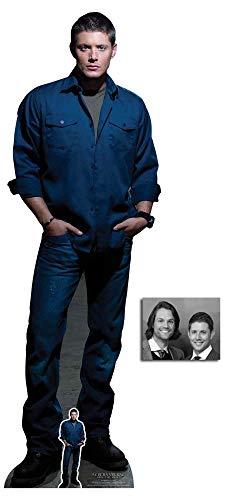 BundleZ-4-FanZ Dean Winchester Blaues Shirt von Supernatural Offiziell Lebensgrosse und klein Pappfiguren/Stehplatzinhaber/Aufsteller Fan Pack, 186cm x 61cm Enthält 8X10 (25X20Cm) starfoto
