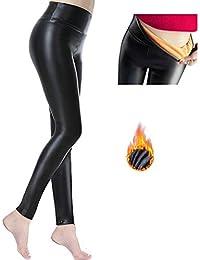 99ec0a7af8bc UMIPUBO Pantaloni di Pelle Donna Leggings Inverno Donna Leggings Caldi e  Morbidi Fodera in Pile Stretch