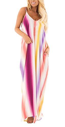 Vestidos Largos De Verano Mujer Elegantes Sin Mangas Modernas Casual Tirantes V Cuello Sin Espalda Arcoiris Colores Moda Suelta Hippies Vestido Playa Vestidos Casual (Color : Color, Size : SG)
