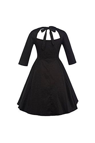 Des années 1940 Vintage Hollow femmes Out Swing Party Dress Black