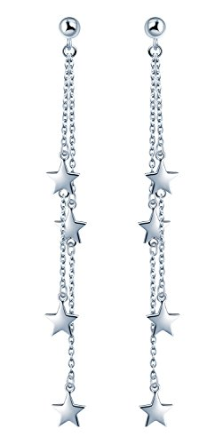 Yumilok 925 Sterling Silber Sterne Sternchen Ohrhänger Kettchen Ohrringe Hypoallergen Ohrschmuck für Damen Frauen Mädchen