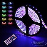 Ruban Led Etanche 5M/5050 RGB Ultralumineux| Infinitoo Strip Light Flexible avec 300 Leds| LED Bande 32 Couleurs de Lumière| Télécommande Infrarouge 44-clé, Décoration dans la Maison ou en Plein Air