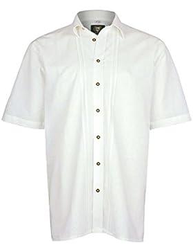 OS Trachten Herren Herren Kurzarm Trachtenhemd Comfort Fit Weiß, Weiß,