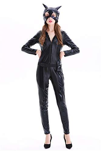 WHG Disfraz de Mujer Sexy Cuello Colgante Negro Traje Traje de látex de PVC Sexy Halloween Catsuit de Cuero,001,M