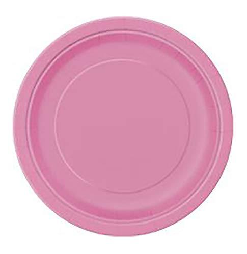 Plain Desert Platten Cups Tischabdeckung Fancy Party Supplies Zubeh�r Plain Plate Hot Pink One Size (Packung mit 16) ()